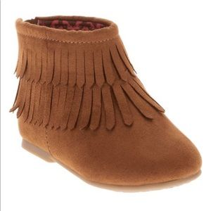 🎈Garanimals Brown Fringe Toddler Boots Back Zp 4